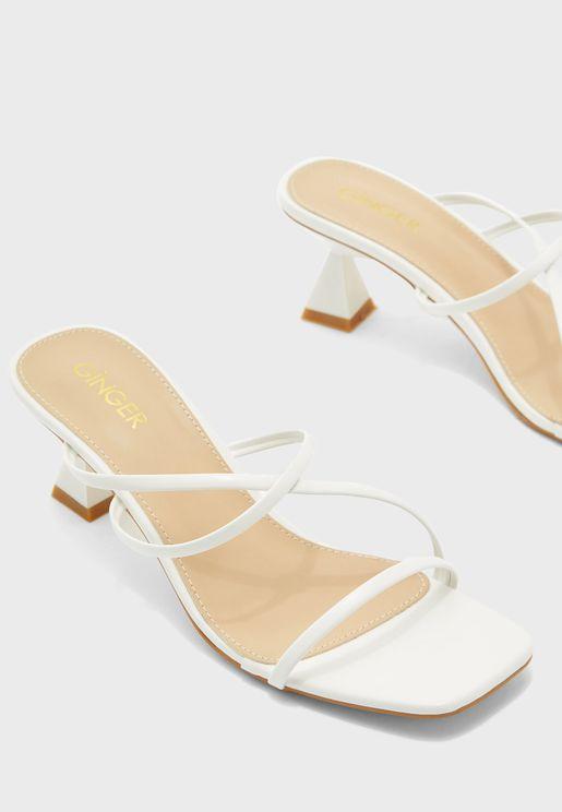 Flared Heel Strappy Sandal