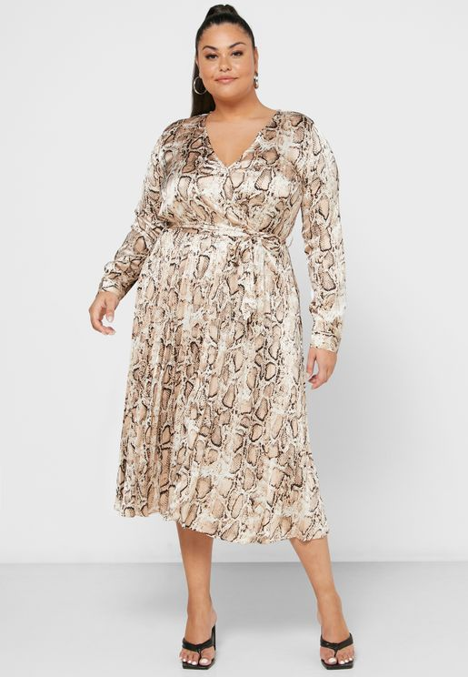 Snake Print Pleated Midi Dress