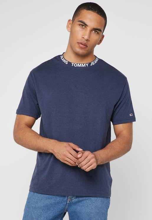 2ebe07ec8f8 Logo Collar Crew Neck T-Shirt