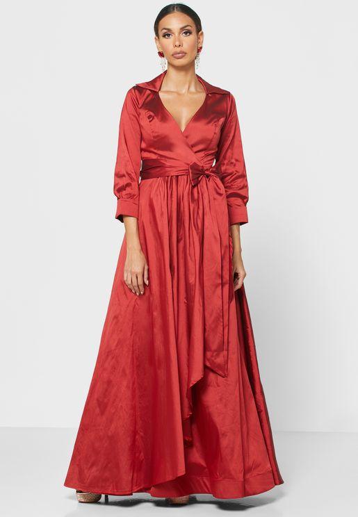 Collared Wrap Maxi Dress