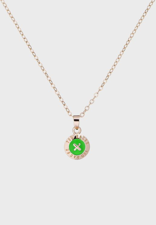 Elvina Enamel Mini Button Pendant Necklace