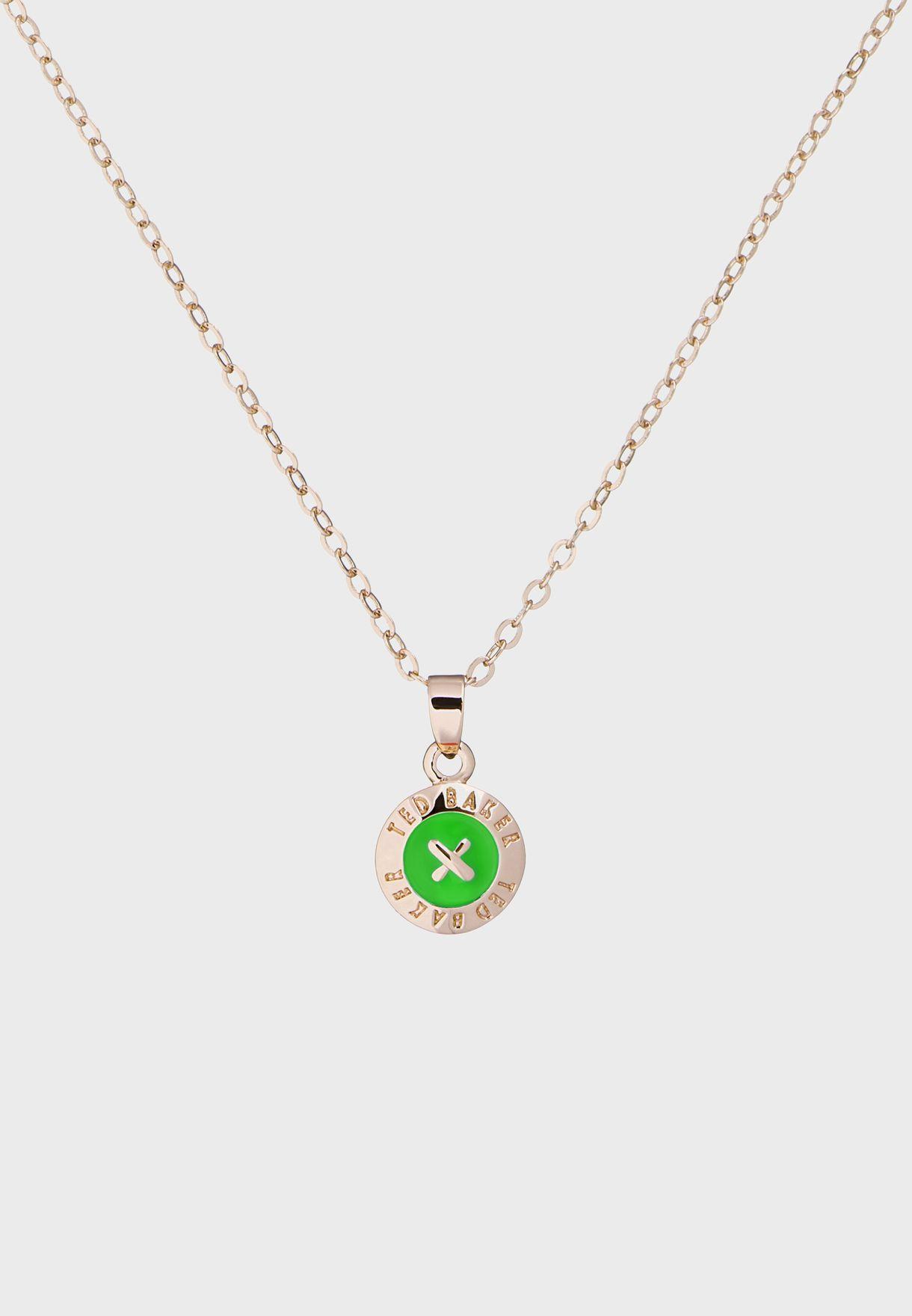 Elvina Enamel Mini Button Pendant Necklace