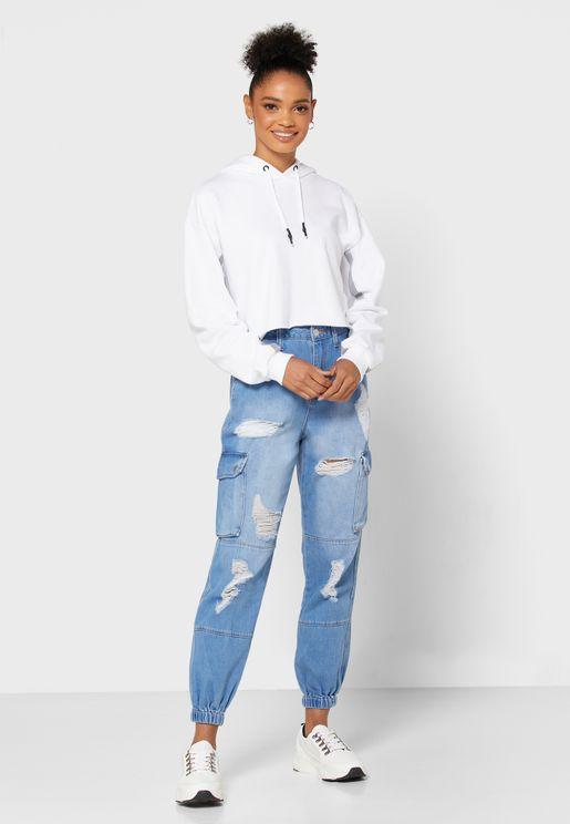 جينز ضيق بنمط كارغو