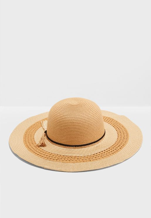 Band & Tassle Detail Wide Brim Straw Hat