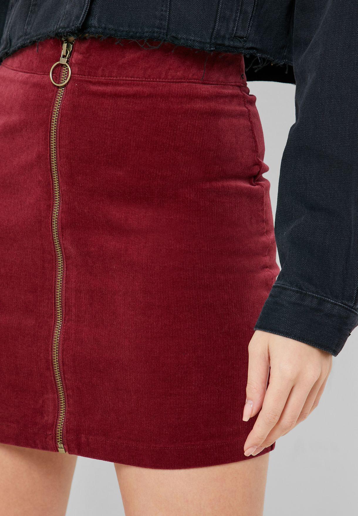 Zip Through Velour Skirt