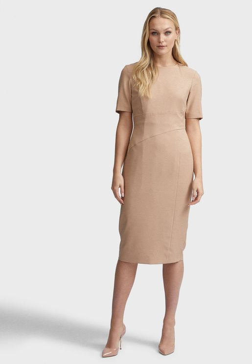 Pleated Neck Dress