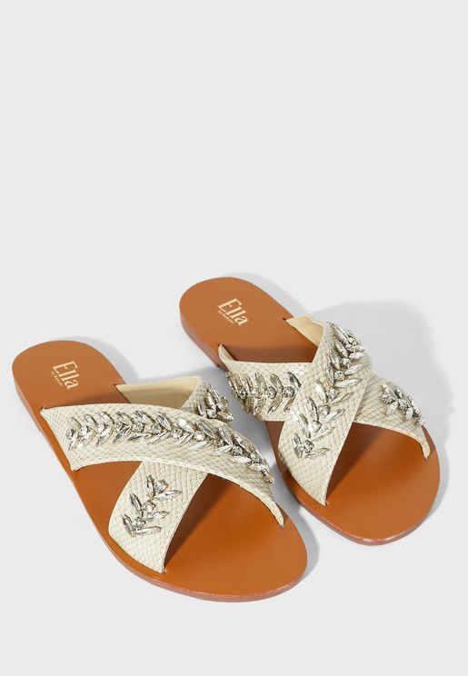 Cross Over Embellished Texture Flat Sandal
