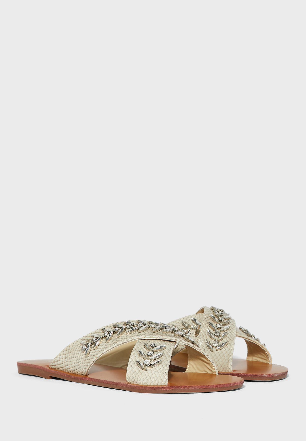 Cross Over Embellished Texture Flat Sandal