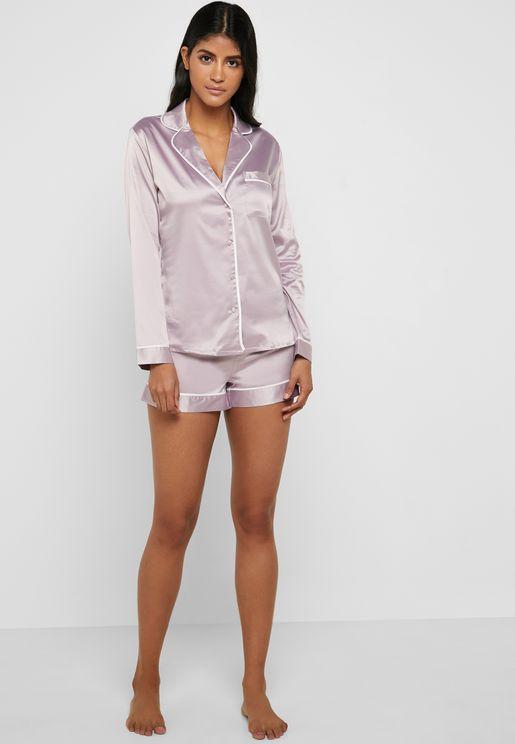 Rita Satin Shirt & Shorts Pyjama Set