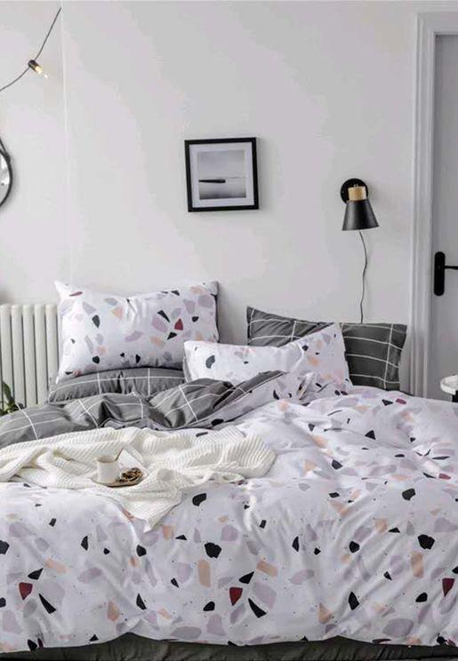 Terrazzo & Grid Print Bedding Set - King 200 x 230cm