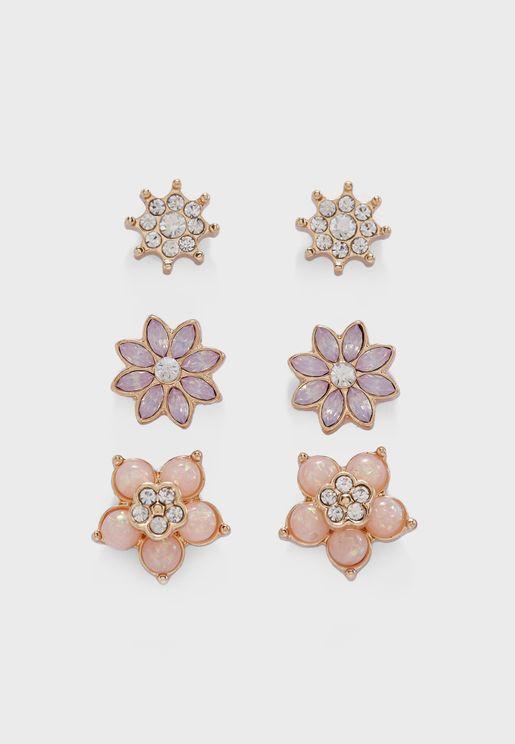 Floral Stud Earrings Set