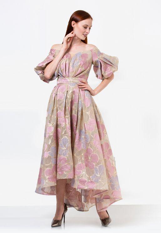 Pleated Organza Jacquard Dress