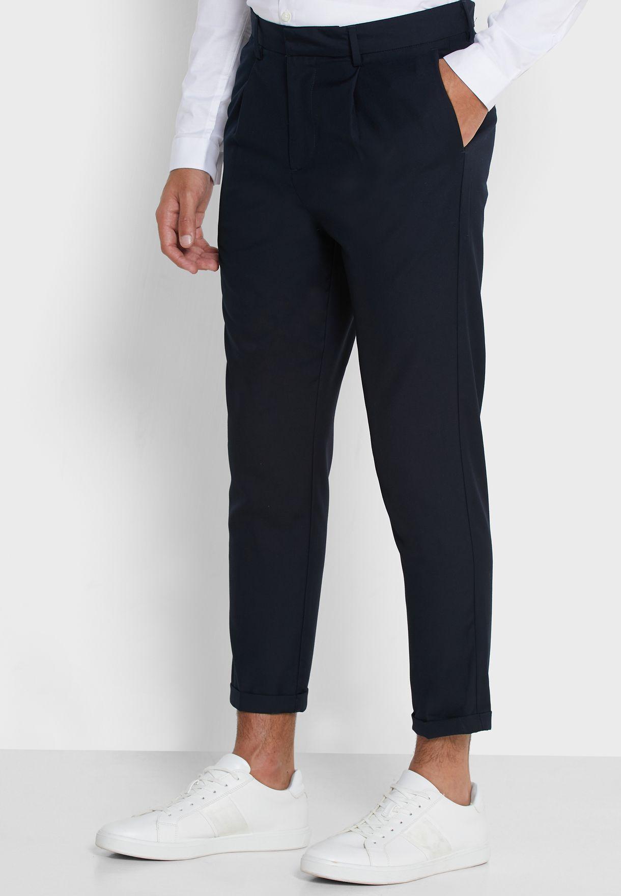 Pleated Roll Hem Trousers