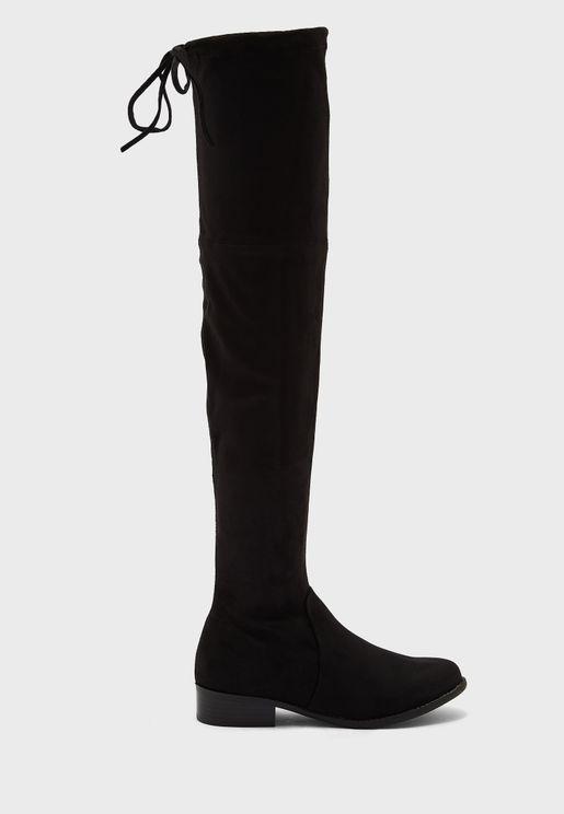 Mid Heel Knee Boots