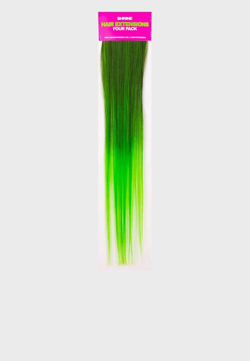Green Ombre Hair Extensions - Pack of 4