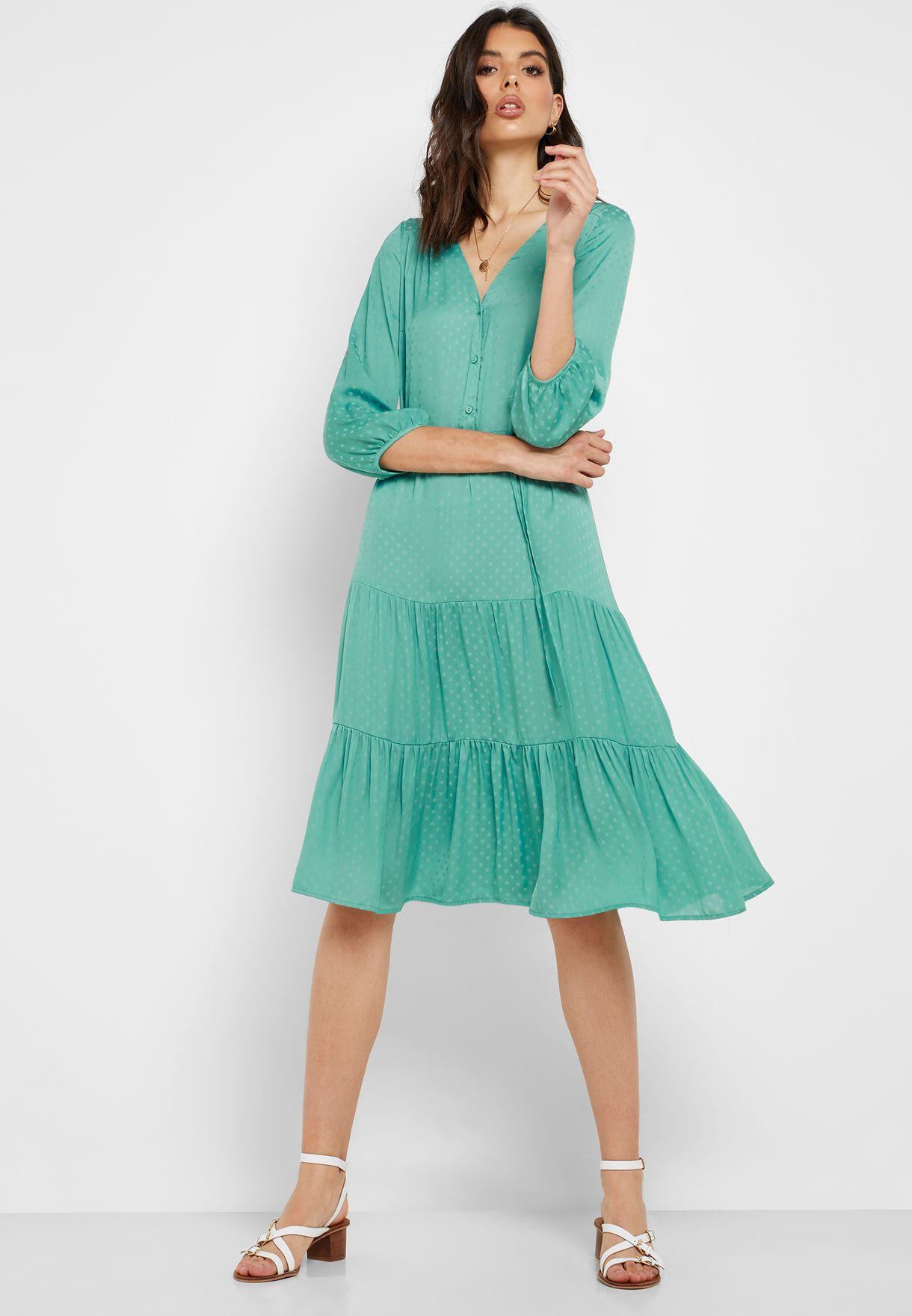 Tie Waist Printed Tiered Dress