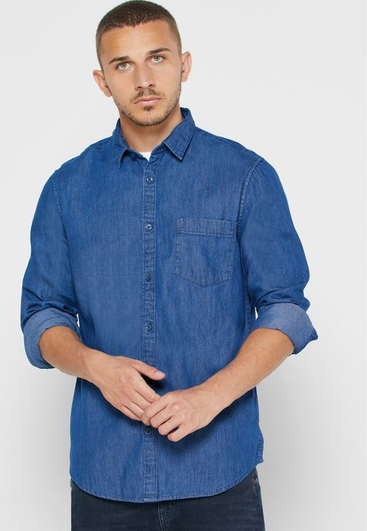 Mid Wash Regular Fit Denim Shirt
