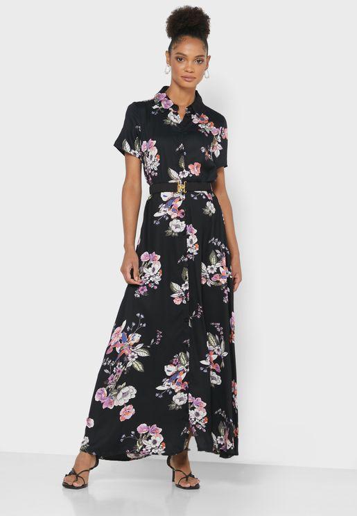 Belted Floral Print Shirt Dress