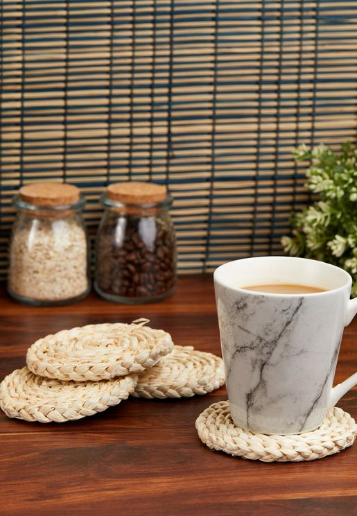 Set of 4 Rattan Weave Coasters
