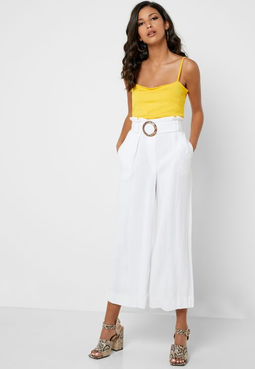 Buckle Detail Wide Leg Pants