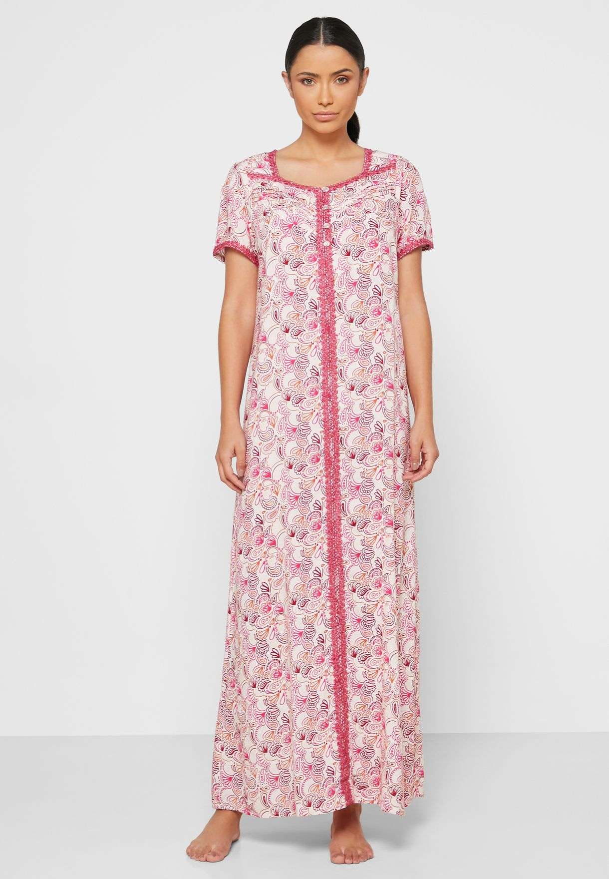 Printed Half Sleeves Rayon Nightwear