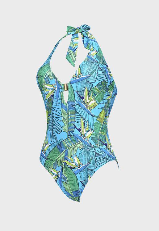 Corsica Plunge Halter Swimsuit