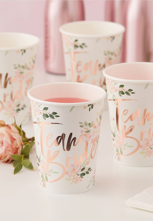 Team Bride Floral Cups 8 Pack