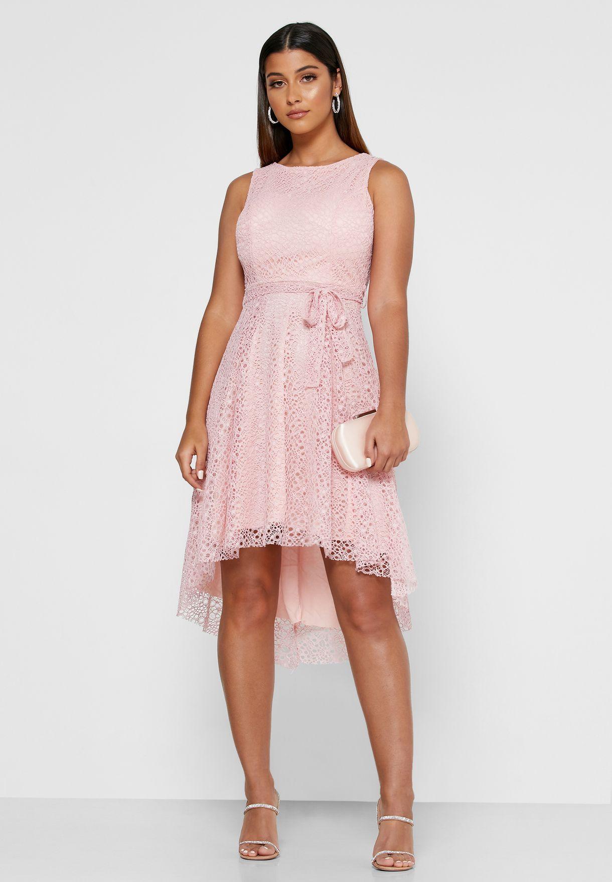 Self Tie Lace Midi Dress