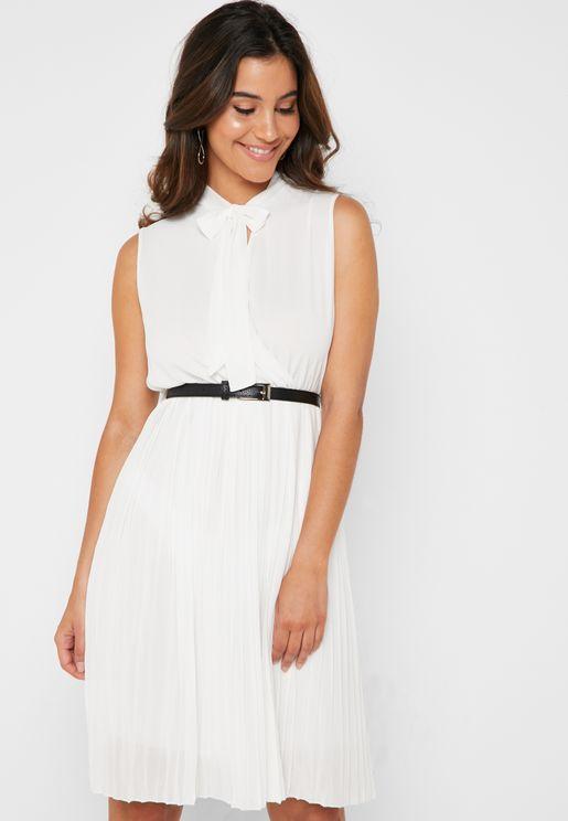 Tie Neck Pleated Skirt Belted Midi Dress