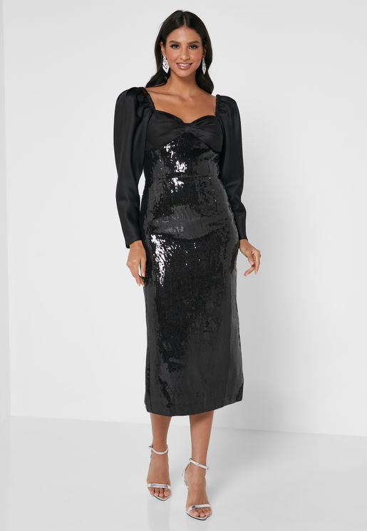 Puff Sleeves Sequin Dress