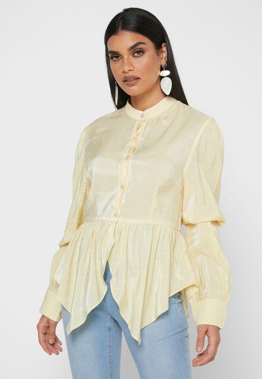 Grandad Collar Peplum Shirt