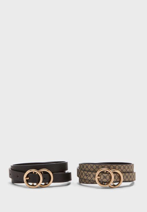 Monogram Skinny 2 Pack Belts