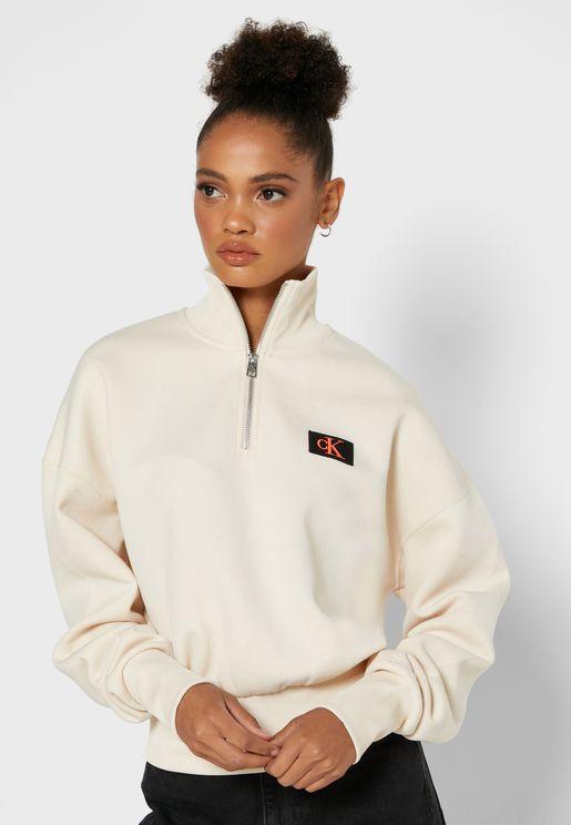 High Neck Zip Detail Logo Sweatshirt