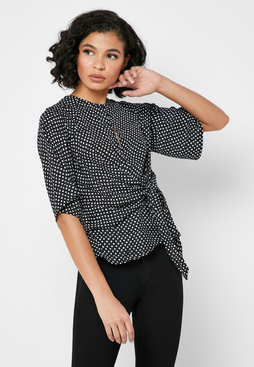 Front Keyhole Side Tie Printed Top