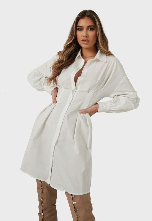Button Down Pleated Waist Shirt Dress