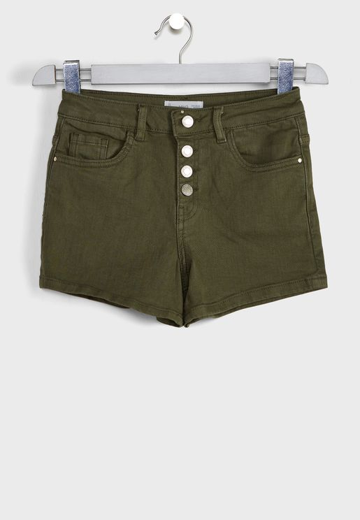 Kids Button Detail Denim Shorts