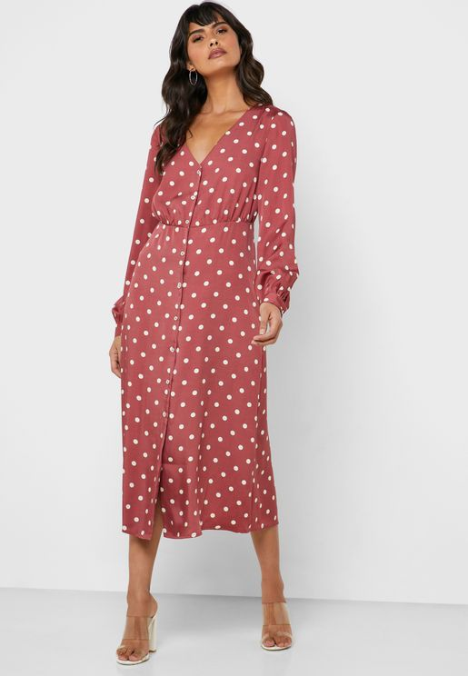 Button Down Polka Dot Dress