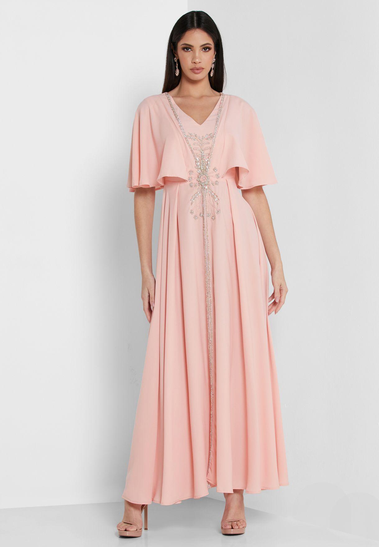 Wide Sleeve Pleated Dress