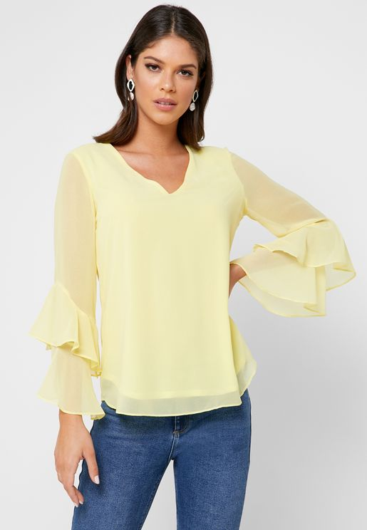 Tiered Sleeve V-neck Top