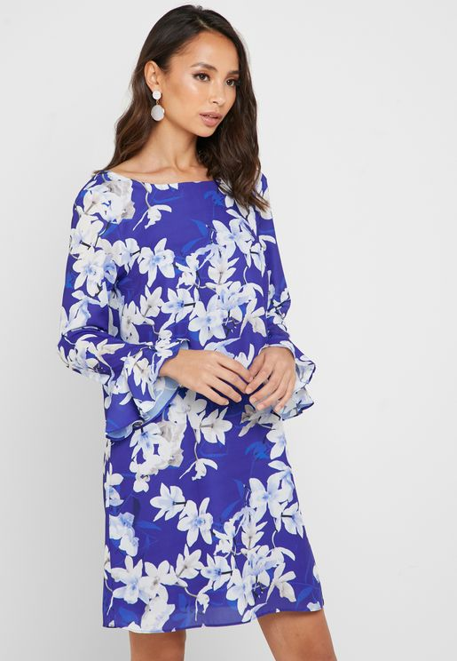Flute Sleeve Floral Print Dress