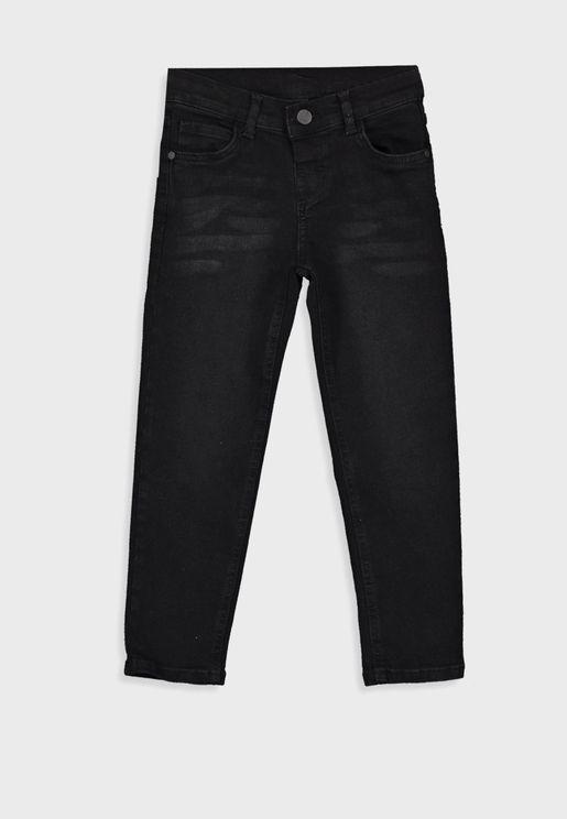 Kids Button Detail Slim Jeans