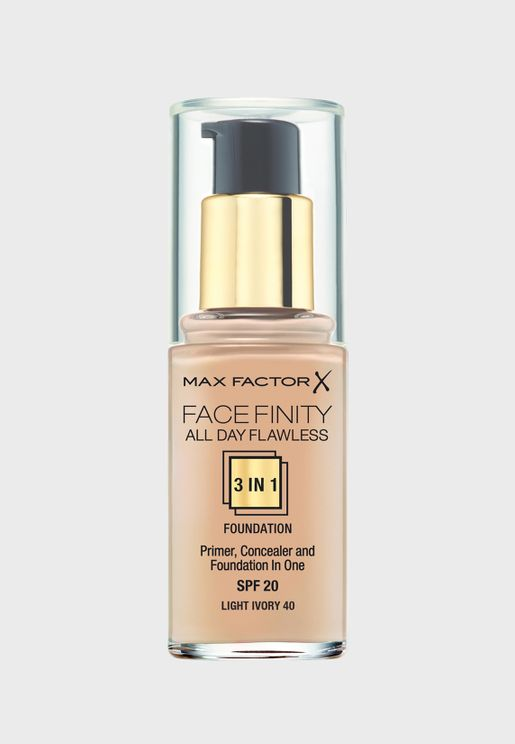 3-in-1 Flawless Liquid Foundation- 40 Light Ivory
