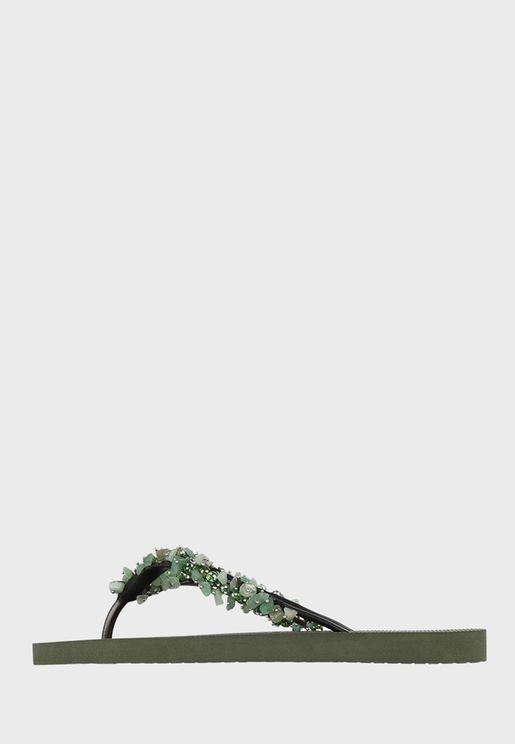 Jade Embellished Flip Flop