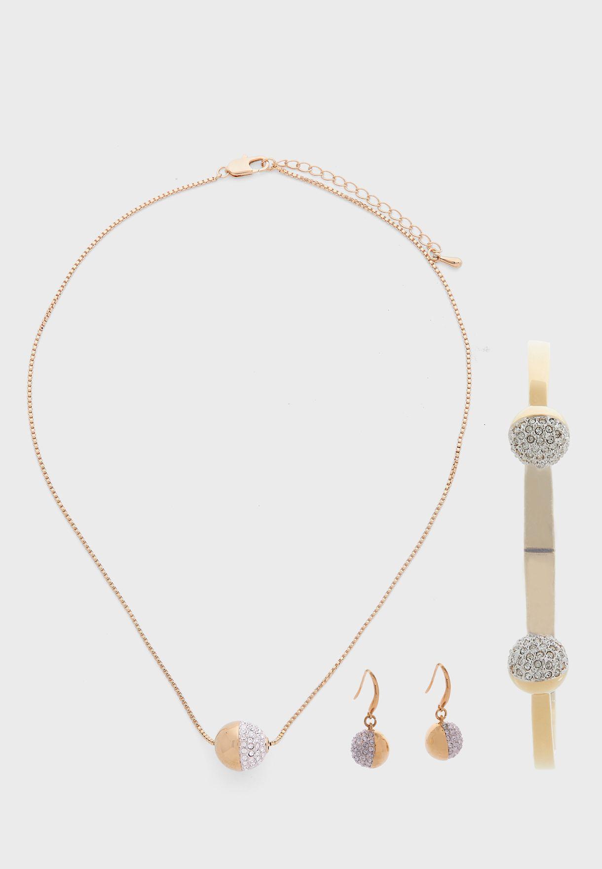 Greenwich Necklace+Earrings+Bracelet Set