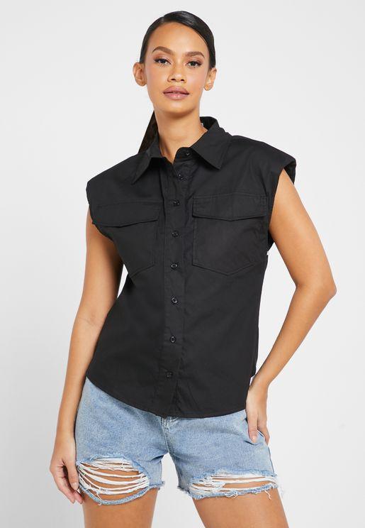 Shoulder Pad Sleeveless Shirt