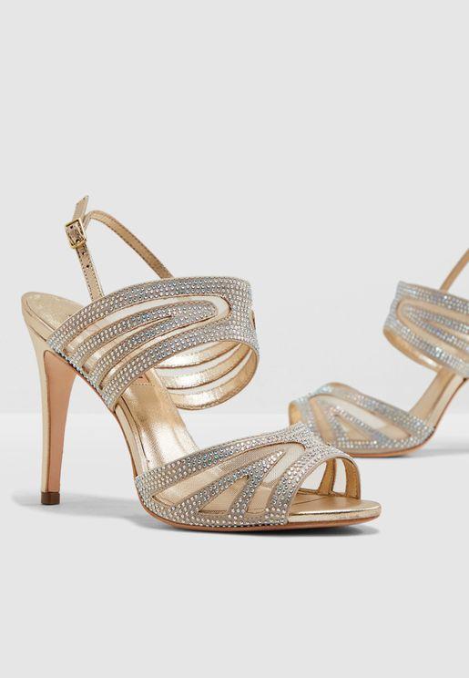 Giovanna Glitter Sandal - White