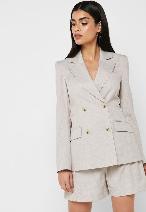 Button Detail Linen Blazer Co Ord