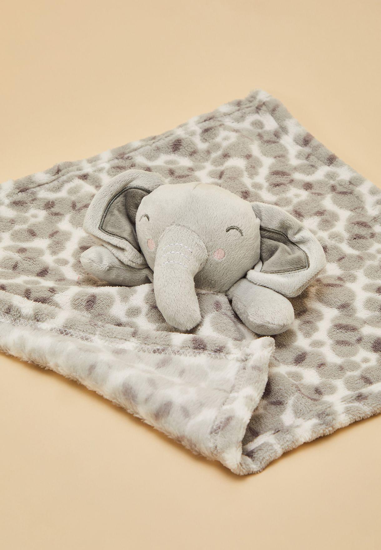 طقم من بطانية فروْ ومنشفة صغيرة برأس فيل