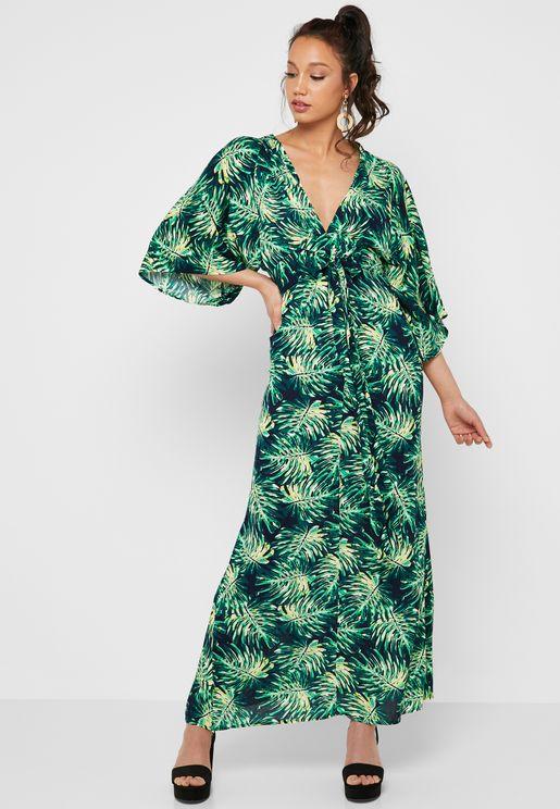 Tropical Print Kimono Sleeve Maxi Dress