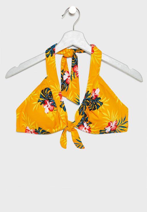 91d5ee716 Floral Print Halter Neck Bikini Top
